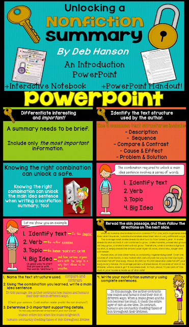 Writing a Nonfiction Summary PowerPoint- It's simple if you just have the right combination!