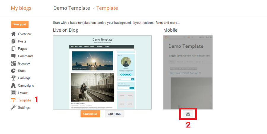 setting mobile blogger template