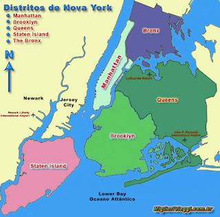 Mapa de Nova Yorque com distritos e cidades nos arredores