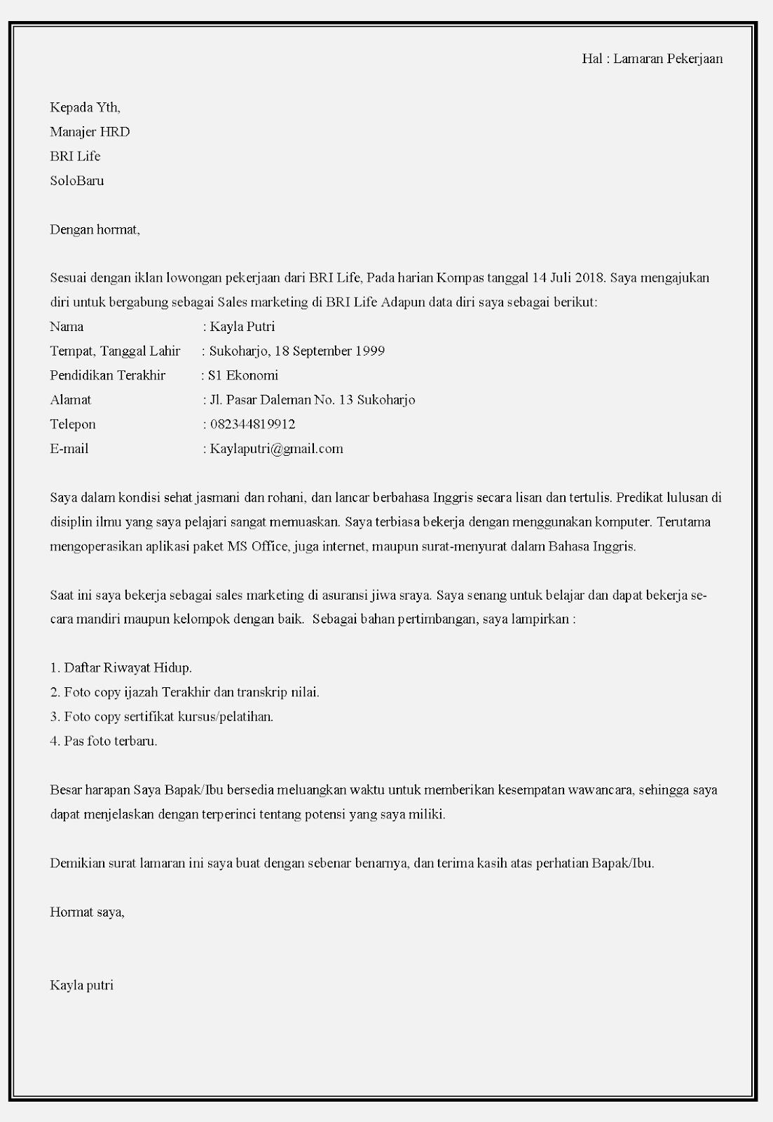 Contoh Surat Lamaran Kerja Office Boy Dalam Bahasa Inggris