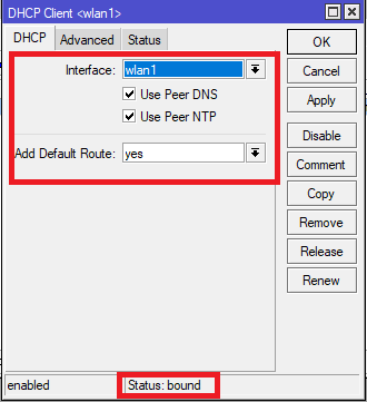 setting dhcp client