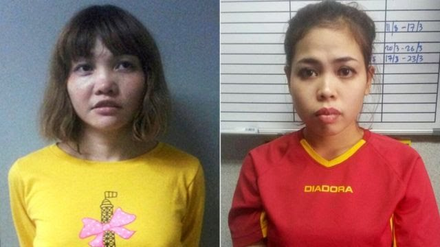 Vietnamese Doan Thi Huong (left) and Indonesian Siti Aisyah (right) are accused of killing Mr Kim