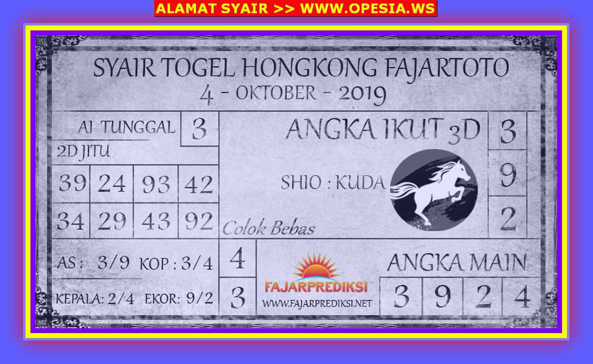 Kode syair Hongkong Jumat 4 Oktober 2019 141