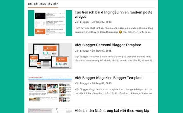 Cách tạo tiện ích bài đăng gần đây recent posts widget