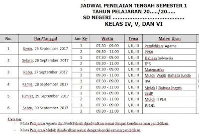 Jadwal Penilaian Tengah Semester SD Kurikulum 2013 Revisi Terbaru 2017