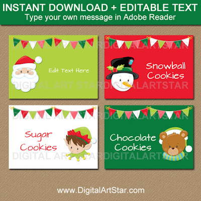 Christmas Candy Buffet Labels