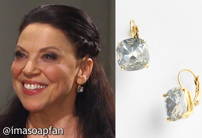 During These Scenes Dr O Was Wearing Clear Crystal Drop Earrings By Kate Spade The Come In Liesl S Gold Version And Several Other