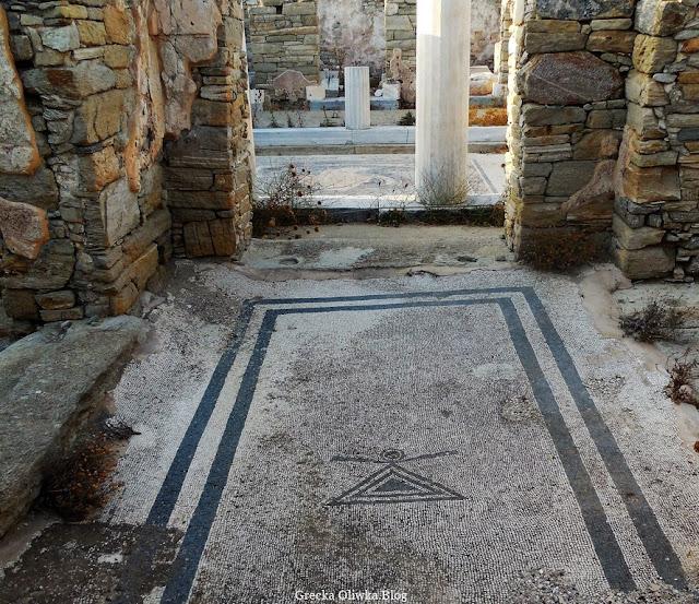 symbol bogini Tanit na mozaice głównego wejścia do Domu Delfinów Delos Grecja