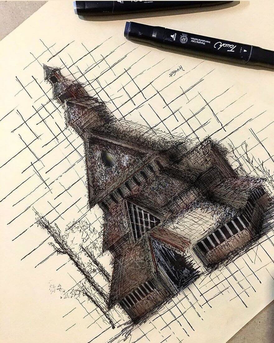08-Borgund-Stave-Church-Erfan-Hasankhani-Ink-and-Color-Architectural-Drawings-www-designstack-co