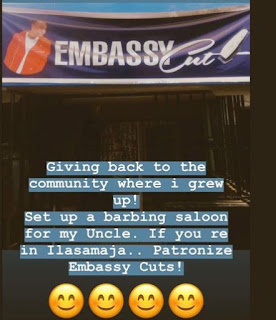 DMW singer, Mayorkun has opened a barbing salon for his uncle