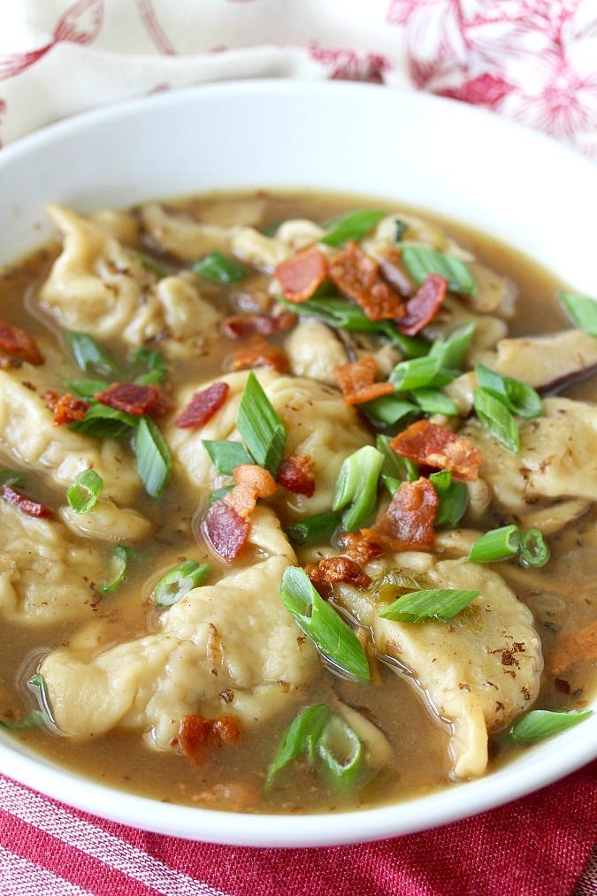 Asian Style Chicken Dumpling Soup Karens Kitchen Stories