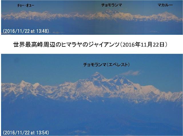 写真1 飛行機から眺めた東ネパール・クンブ地域周辺のヒマラヤのジャイアンツ。