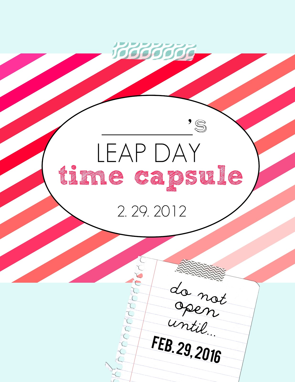 Leap Day Time Capsule Free Printable