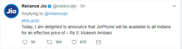 Jio Phone pricing