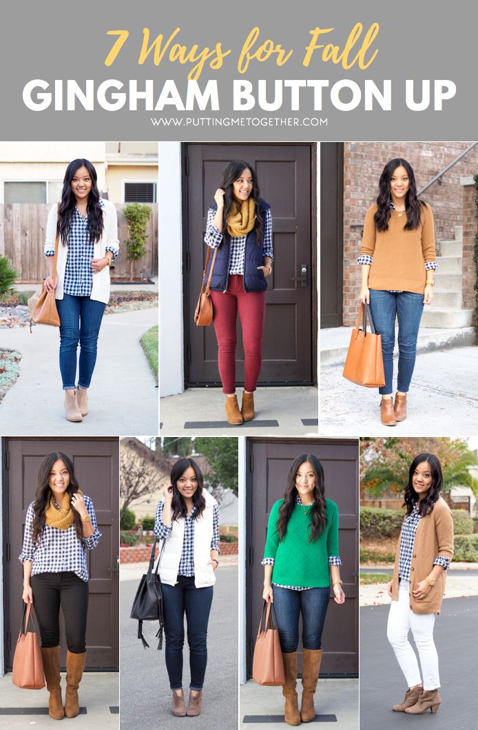 7 Outfits for Fall with a Navy Gingham Button Up