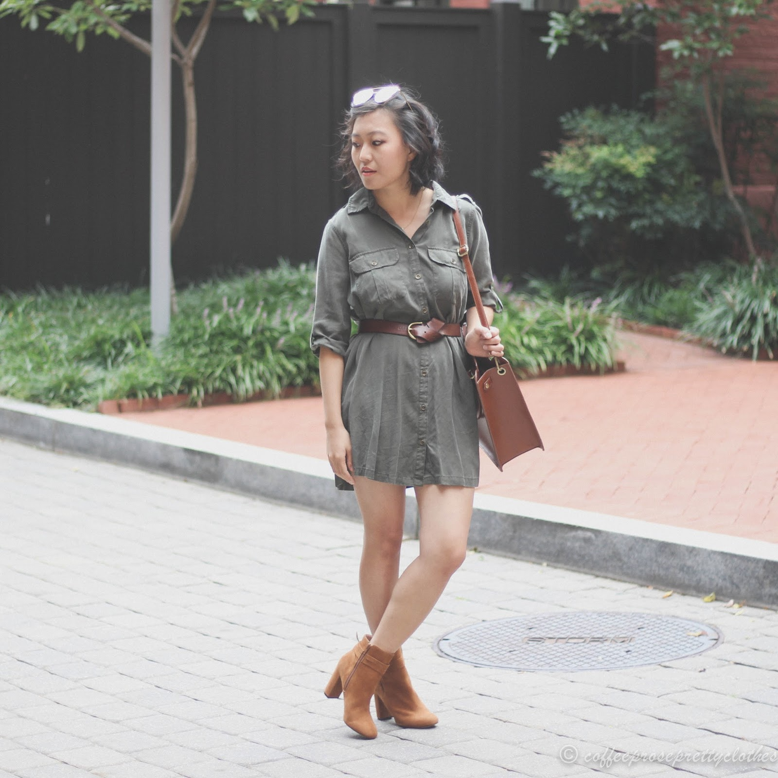 Sole Society Flynn, olive shirtdress, scallop shopper tote, ASOS