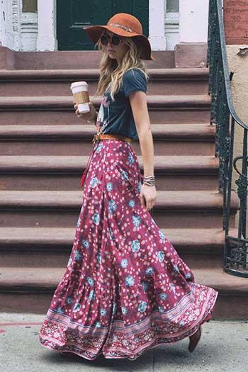 25fa9054b84b2 Desenli, özellikle de etnik desenli etekler bu giyim tarzı için uygundur  ama düz renk de olabilir.