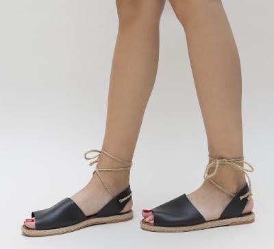sandale negre cu talpa joasa de vara