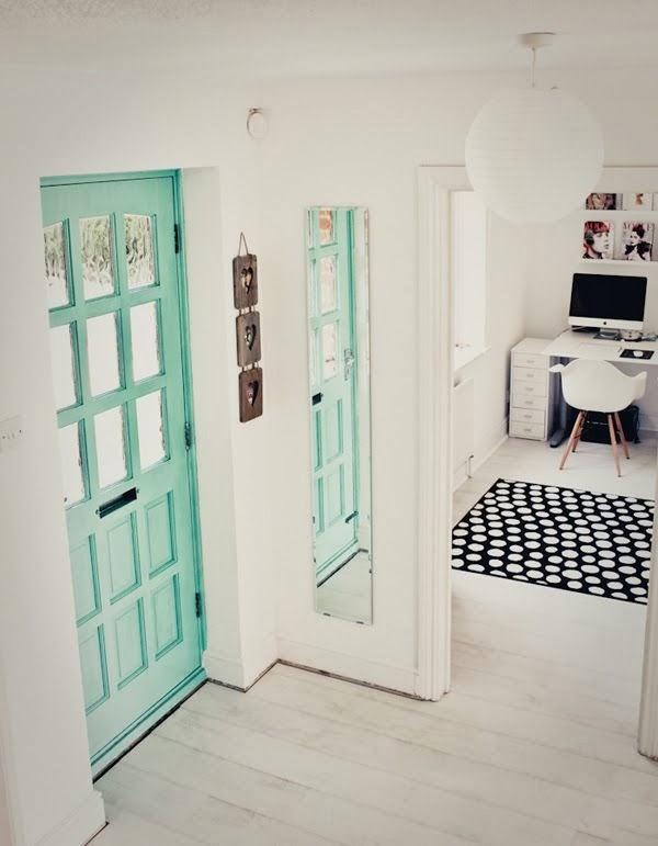 mint front door and white floors