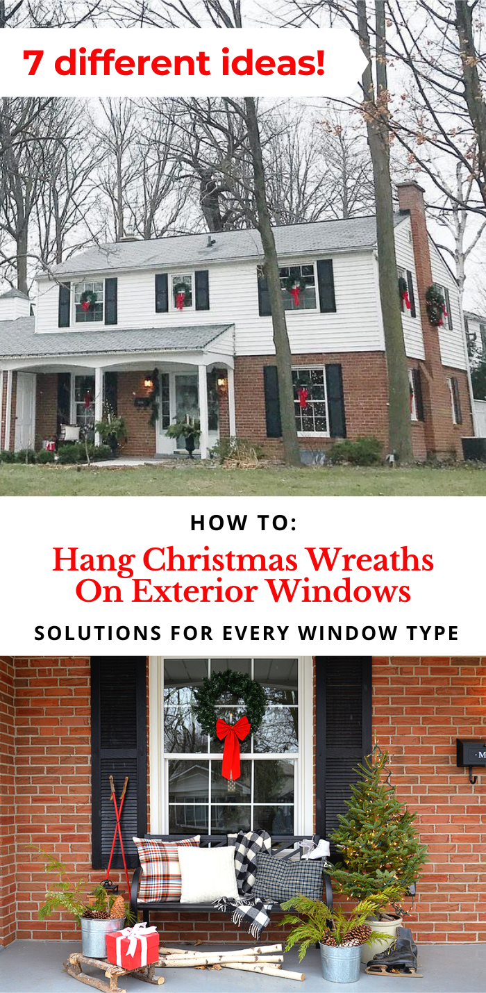 wreaths on windows, Christmas wreaths on exterior windows, Colonial house with wreaths in windows