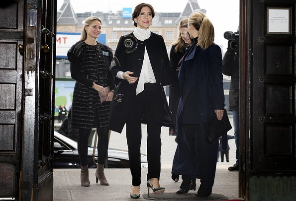 Crown Princess Mary attended the opening of Copenhagen Fashion Week 2017. Princess Mary wore Valentino shoes