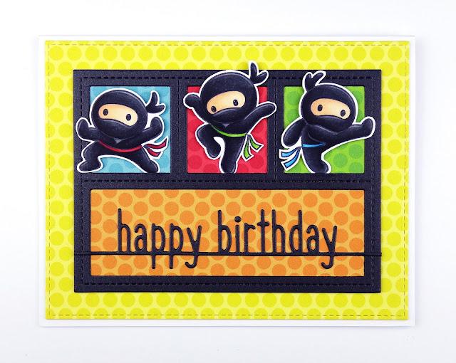 Colourful ninjas birthday card, using Ninja stamps from CC Designs