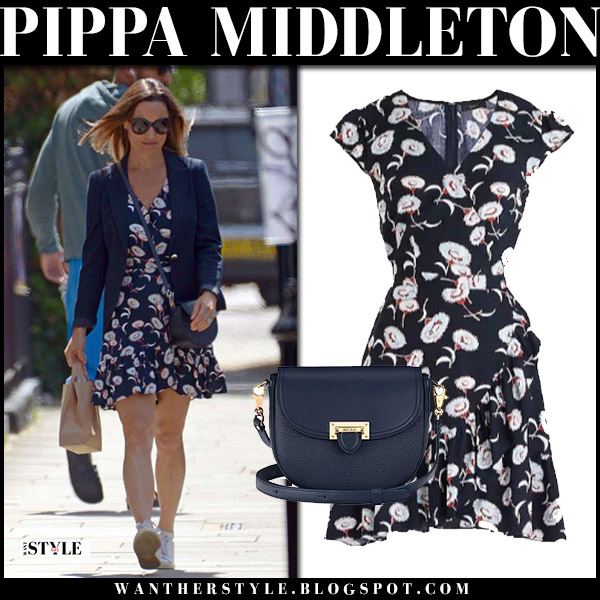 Pippa Middleton In Navy Floral Mini Dress In London On