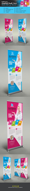 health care rollup banner print template.