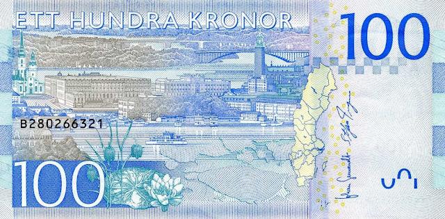 Sweden money currency 100 Krona banknote 2016 Stockholm