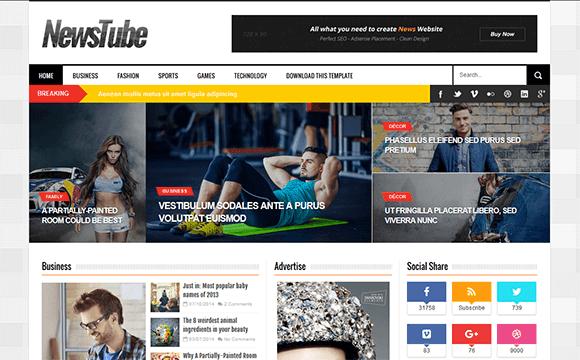 Sebarkan Tips, NewsTube Blogger Template Untuk Blog Berita