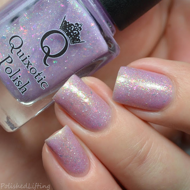 purple holo nail polish with flakies