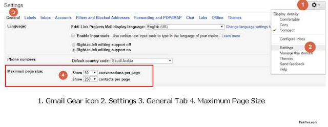 Gmail Maximum Page Size