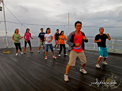 Tae Bo lesson onboard a ship