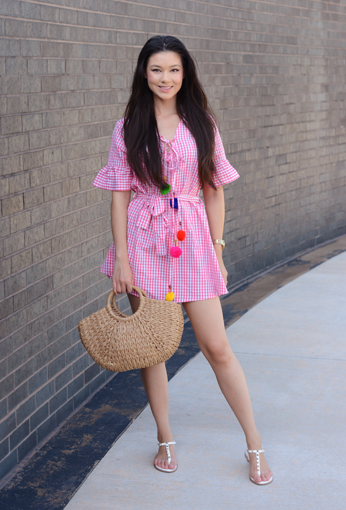 Pink Gingham Print Pom Pom Trim Smock Dress, Pom Pom, Gingham, Prettylittlething, Shein, Straw Bag