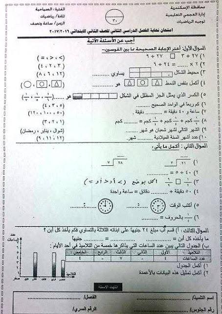 تحميل اختبار آخر العام فى الرياضيات للصف الثاني الابتدائي لمحافظة الاسكندريه اداره العجمي