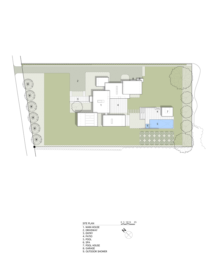Site plan of Sam's Creek Home by Bates Masi Architects