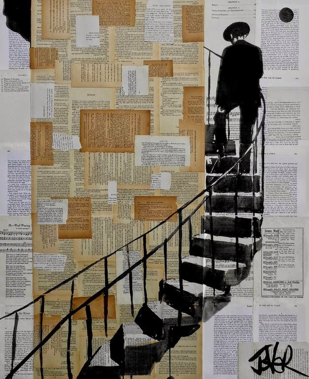 02-Stairs-Loui-Jover-Drawings-on-Book-Pages-www-designstack-co