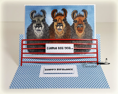 North Coast Creations Stamp Set: Llama Tell You, ODBD Paper Collection: Old Glory, ODBD Custom Dies: Double Stitched Rectangles, Rectangles, USA Flag