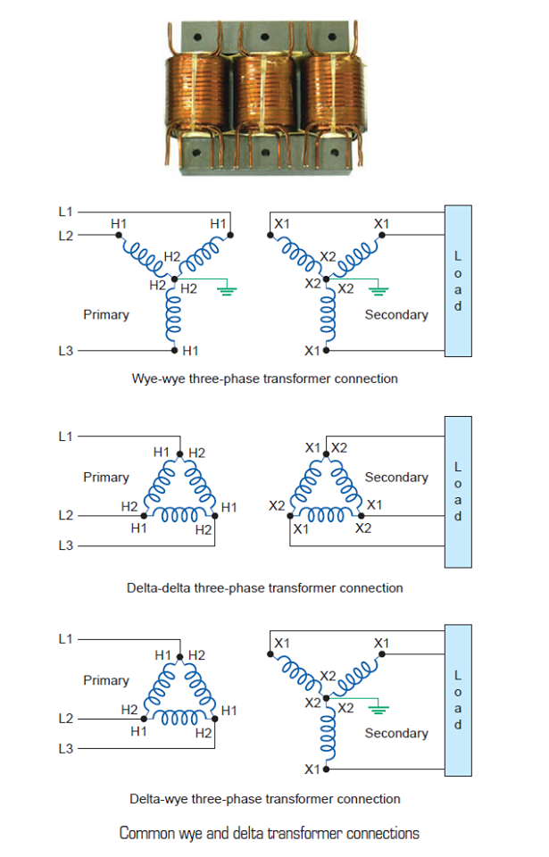 Common Star and Delta Transformer Connections