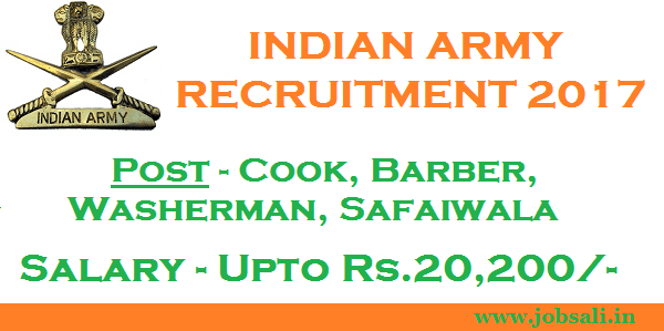 Indian Army Jobs, Indian Army Vacancy , Cook Jobs in Indian Army