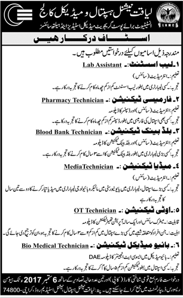 Jobs In Liaquat National Hospital And Medical College Karachi Aug 2017
