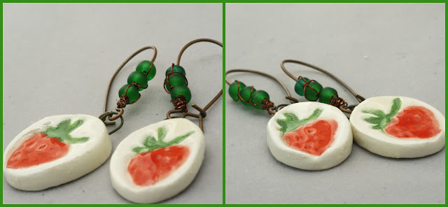 Rustic strawberry earrings by BayMoonDesign