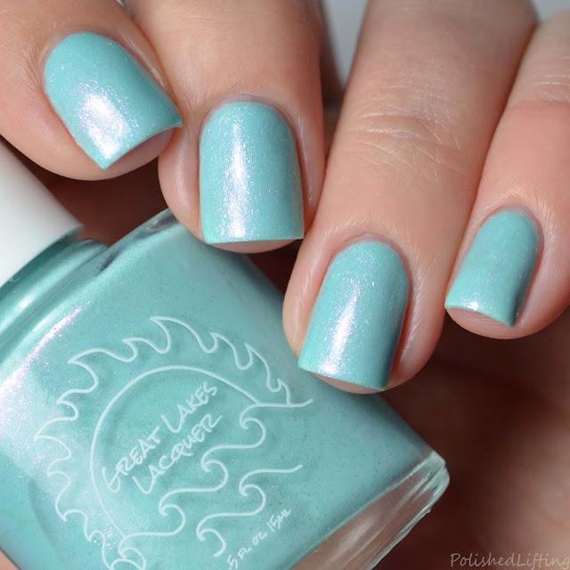 aqua blue shimmer nail polish