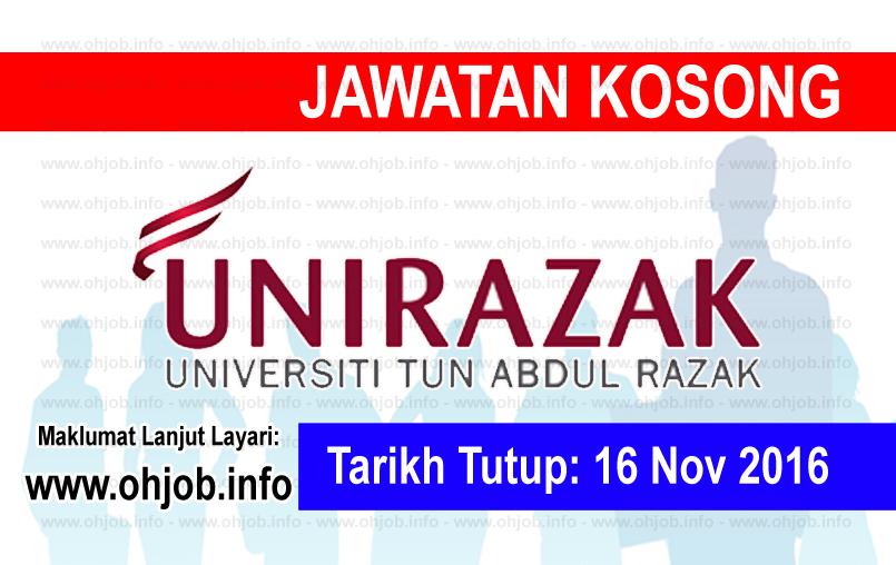 Jawatan Kerja Kosong Universiti Tun Abdul Razak (UNIRAZAK) logo www.ohjob.info november 2016