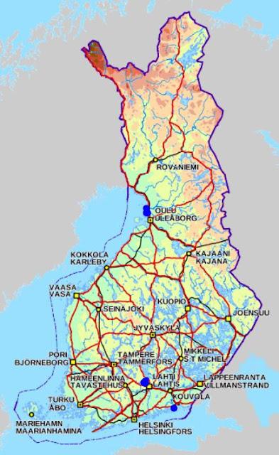 Kartta, johon on merkitty silonnäkinparran löytöpisteitä. Niitä on mm. Oulussa, Lahdessa ja Kouvolassa.