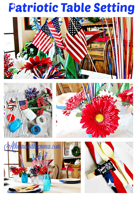 red ribbon, blue, flag, stars, flowers, mason jars, painted