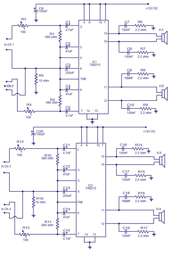 4 x 15 watt mini power amplifier | circuits-projects mini circuit wiring diagram