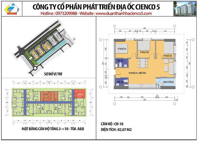Mặt bằng căn hộ CH18 tầng 3-18 tòa HH02A&B