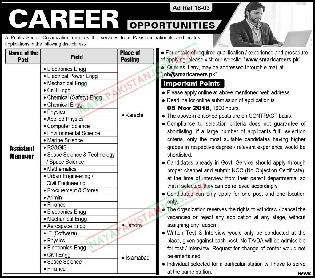 Latest Vacancies Announced in Public Sector Organization for the post of  Assistant Manger 21 October 2018 - Naya Pakistan