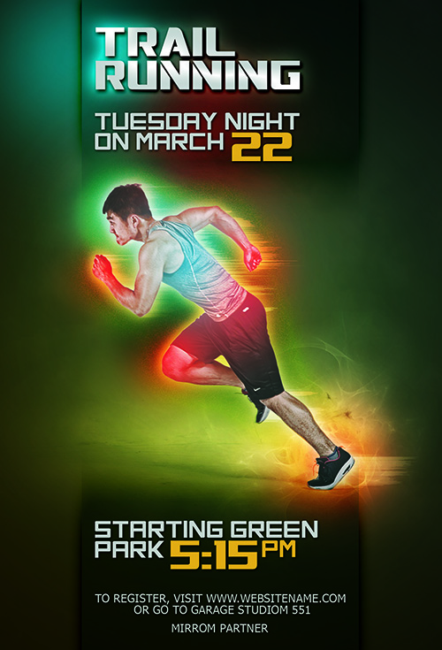 Make Futuristic Color Sport Flyer In Photoshop